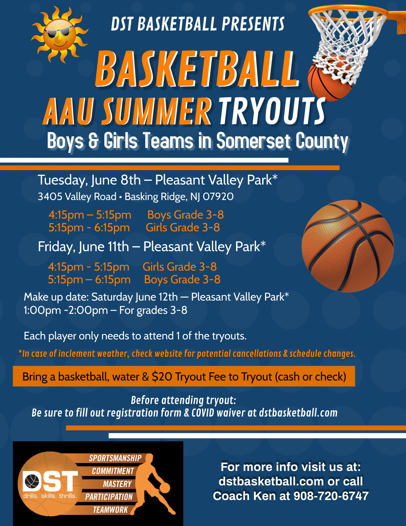 flyer for DST Basketball - Somerset County AAU Summer Tryouts