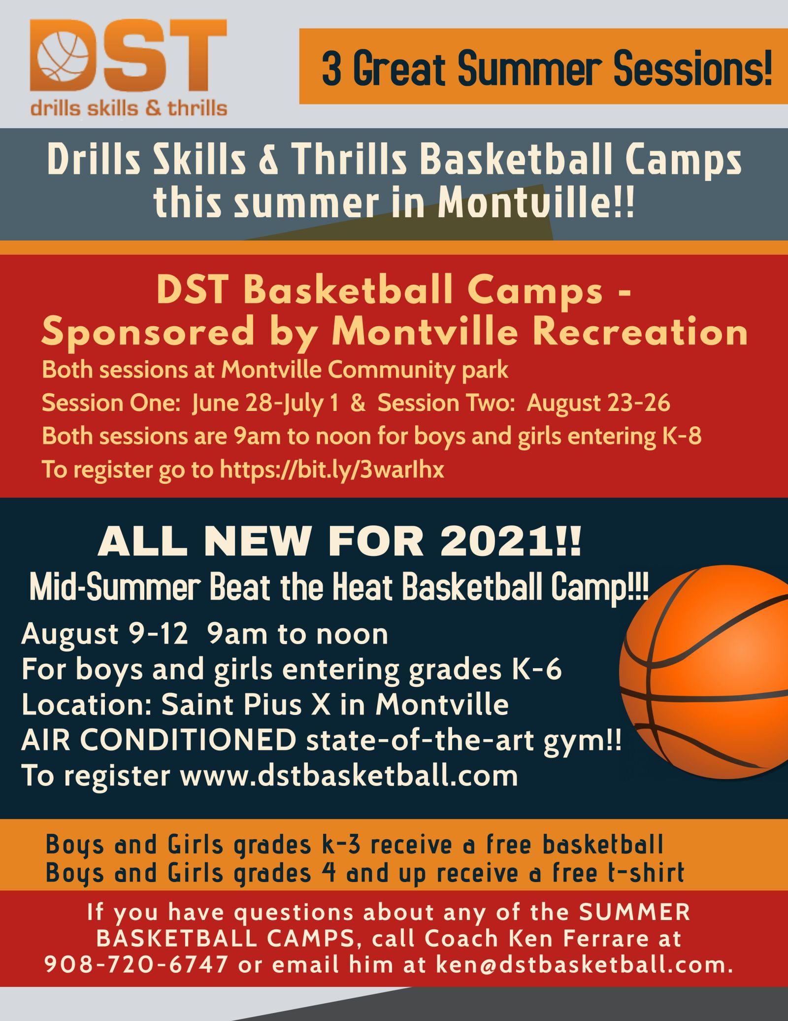 Flyer for DST Basketball Summer Camps