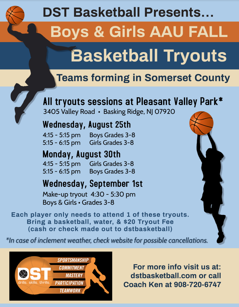 flyer for Fall AAU Somerset County Registration flyer